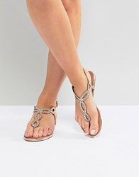 Madden Girl Embellished Flat Sandals Light Pink Beige