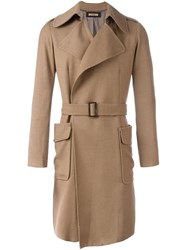 Nuur Belted Patch Pockets Coat Brown