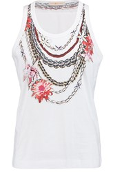 Tory Burch Printed Cotton Jersey Tank White