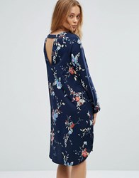 Vero Moda Floral Shift Dress With Back Cut Out Total Eclipse Navy