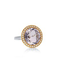 Diana M. Jewels Two Tone 18K Pink Amethyst And Diamond Ring Size 6.5
