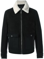 Salvatore Ferragamo Contrasting Collar Jacket Black
