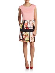 Saks Fifth Avenue Red Mixed Print Overlay Scuba Dress Pink Multi