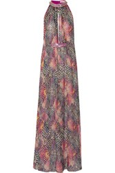Matthew Williamson Embellished Printed Silk Chiffon Maxi Dress Pink
