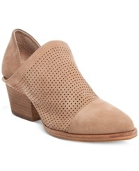 Steve Madden Steven By Women's Skelos Perforated Ankle Booties Women's Shoes Taupe Nubuck
