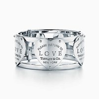 Tiffany And Co. Return To Tiffanytm Love Wide Hinged Cuff In Sterling Silver Large.