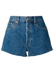 Re Done Frayed Denim Shorts Blue