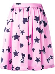 Moschino Heart Print Skater Skirt Pink Purple