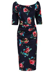 Jolie Moi Floral Half Sleeve Ruched Wiggle Dress