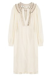 Alberta Ferretti Silk Tunic Dress With Embellished Crochet Trim Beige