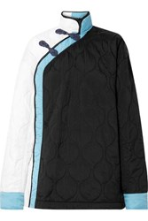 House Of Holland Oversized Color Block Quilted Shell Jacket Black