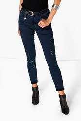 Boohoo Mary High Rise Destroyed Knee Skinny Jeans Dark Blue