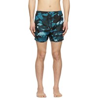 Neil Barrett Blue Camo 'Danger' Swim Shorts