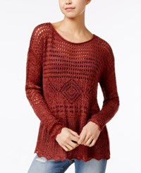 American Rag Scalloped Trim Open Stitch Sweater Only At Macy's Russet Brown