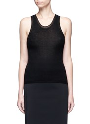Alexander Wang Scoop Neck Rib Knit Racerback Tank Top Black