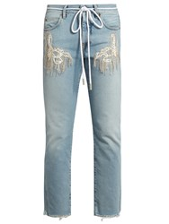 Off White Frayed Mid Rise Cropped Jeans Light Blue