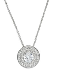 Eliot Danori Necklace Silver Tone Crystal Cubic Zirconia Circle Pendant 1 Ct. T.W.
