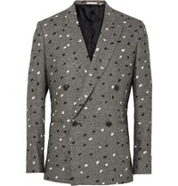 Paul Smith Grey Slim Fit Paint Splattered Double Breasted Houndstooth Linen Blazer Gray