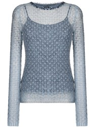 Ermanno Scervino Beaded Neck Jumper Blue
