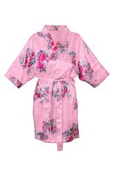 Women's Cathy's Concepts Floral Satin Robe Light Pink M