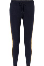 Chinti And Parker Striped Cashmere Wool Blend Track Pants Navy