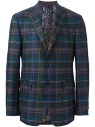 Etro Plaid Blazer Blue