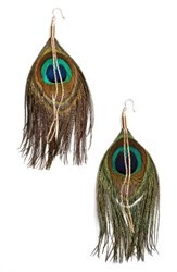 Serefina Women's Peacock Feather Earrings Turquoise Gold