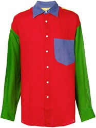 Jc De Castelbajac Vintage Colour Block Panelled Shirt Multicolour