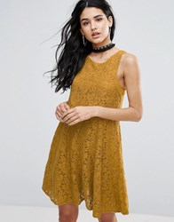 Free People Miles Of Lace Skater Dress Gold Yellow