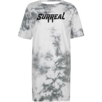 River Island White Tie Dye 'Surreal' Lace Up Back T Shirt