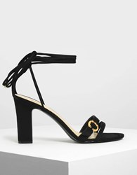 Charles And Keith Open Toe Strappy Block Heels Black
