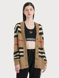Burberry Vintage Stripe Mohair Oversized Cardigan Beige