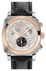 Versus By Versace 'Riverdale' Chronograph Leather Strap Watch 40Mm Black Silver Rose Gold