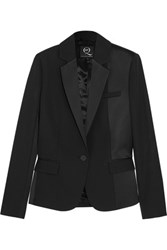 Mcq By Alexander Mcqueen Brushed Satin Paneled Wool Tuxedo Jacket Navy