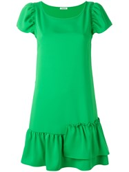 P.A.R.O.S.H. Asymmetric Ruffle Shift Dress Green
