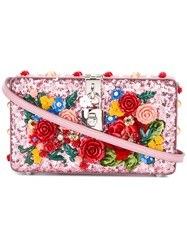 Dolce And Gabbana Floral Embellished Clutch Pink Purple