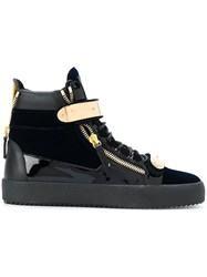 Giuseppe Zanotti Design Coby Velvet Sneakers Calf Leather Leather Velvet Rubber Blue