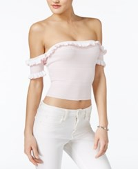 Guess Aimee Off The Shoulder Top True White Pale Lilac