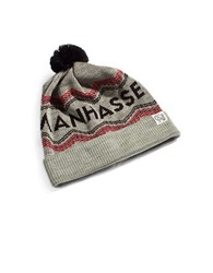 Tuck Shop Co. Manhasset Striped Pompom Beanie Black