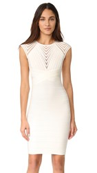 Herve Leger Deanna Cap Sleeve Dress Alabaster