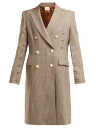 Hillier Bartley Double Breasted Checked Wool Coat Brown Multi