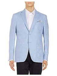 Calvin Klein Classic Fit Jacquard Linen Blend Sportcoat Light Blue