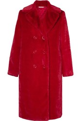 Alice Olivia Montana Double Breasted Faux Fur Coat Red
