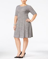 Connected Plus Size Knit A Line Dress Gray