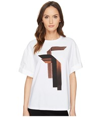 Neil Barrett Sanfor Stripes T Shirt Jersey Fine Pop. Stripes T Shirt White Women's T Shirt