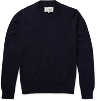 Maison Martin Margiela Elbow Patch Cotton Sweater Blue
