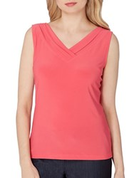 Tahari By Arthur S. Levine Plus Shirred V Neck Jersey Top Coral