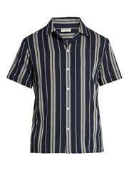 Editions M.R Multi Striped Short Sleeved Cotton Shirt Navy Multi