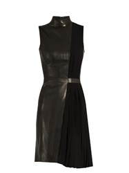 Thierry Mugler High Neck Leather And Pleated Cady Dress Black