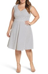 Adrianna Papell Plus Size Women's Stripe Fit And Flare Dress